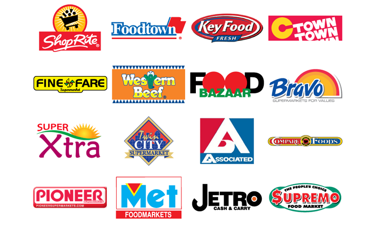 Supermarket Logos: Shoprite, Foodtown, Key Food, C town, Fine Fare, Western Beef, Food Bazar, Bravo, Extra, Twin city, Associated, Compare, Pioneer, MET Foods, Jetro Cash & Carry.